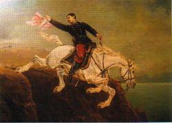 Alfonso Ugarte arrojandose del Morro de Arica por Agostino Lodovico Marazzani Visconti (1905)