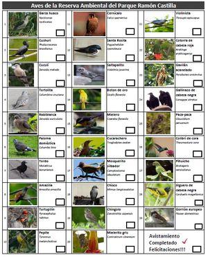 Checklist Aves Castilla
